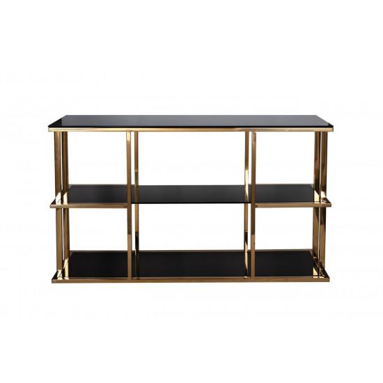 Металлическая золотая консоль с чёрным стеклом 140*40*80см 46AS-CST4616-GOLD в интернет-магазине ROSESTAR фото