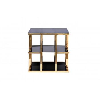 Золотой металлический журнальный столик с чёрным стеклом 60*60*60см 46AS-ET4752-GOLD