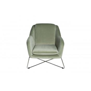 Велюровое кресло на металлическом каркасе светло-оливковое/хром 75*87*80см 46AS-AR2976-OLV