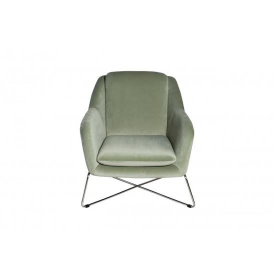 Велюровое кресло на металлическом каркасе светло-оливковое/хром 75*87*80см 46AS-AR2976-OLV в интернет-магазине ROSESTAR фото
