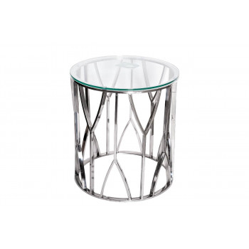 Металлический журнальный столик с прозрачным стеклом Серебро d50*55см 13RXET3103-SILVER