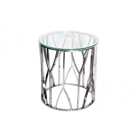 Металлический журнальный столик с прозрачным стеклом Серебро d50*55см 13RXET3103-SILVER в интернет-магазине ROSESTAR фото