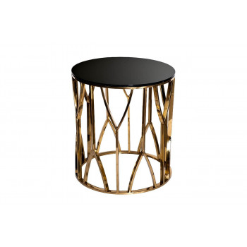 Металлический журнальный столик с чёрным стеклом Золото d50*55см 13RXET3103-GOLD