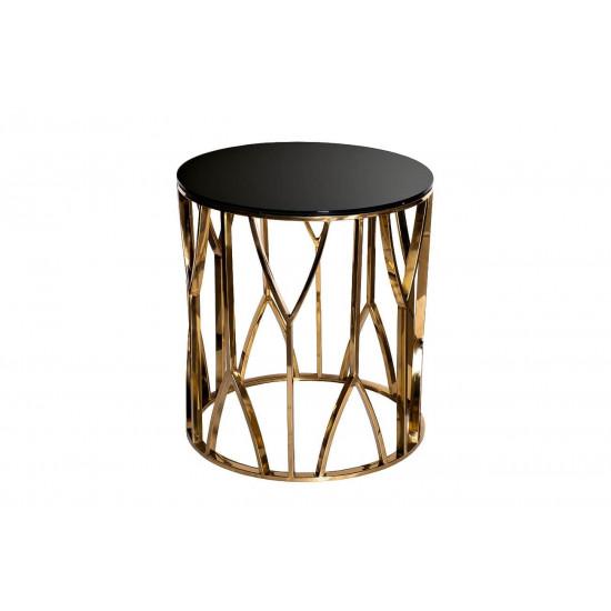Металлический журнальный столик с чёрным стеклом Золото d50*55см 13RXET3103-GOLD в интернет-магазине ROSESTAR фото