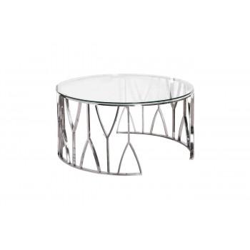 Круглый серебряный металлический журнальный столик со стеклянной столешницей d90*45см 13RXCT3104-SILVER
