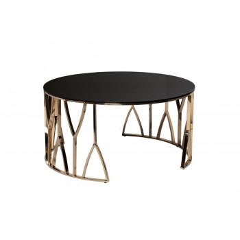 Круглый золотой журнальный столик с чёрным стеклом на металлическом каркасе d90*45см 13RXCT3104-GOLD