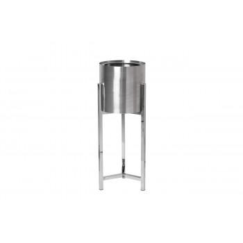 Кашпо напольное металлическое на подставке серебро d25*70cм 13RXFP3105L-SILVER