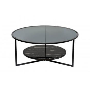 Круглый чёрный журнальный столик с тёмным стеклом и мрамором на металлическом каркасе d90*40см 57EL-CT181A
