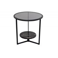 Круглый чёрный журнальный столик с тёмным стеклом на металлическом каркасе d50*50см 57EL-ET181B
