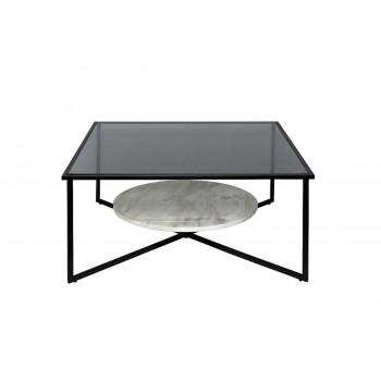 Чёрный квадратный журнальный столик с мрамором и тёмным стеклом на металлическом каркасе 90*90*40см 57EL-CT181C