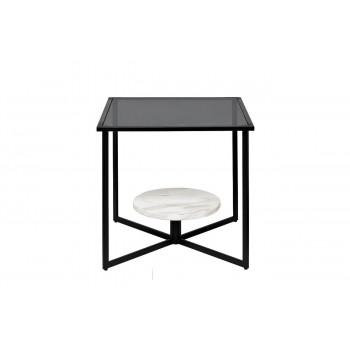 Квадратный журнальный столик на металлическом каркасе с тёмным стеклом и мрамором 50*50*50см 57EL-ET181D