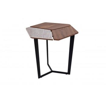 Журнальный столик из дерева на металлическом каркасе с керамической полкой  55*50*50см 57EL-ET379B