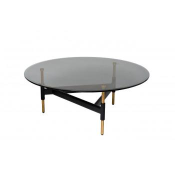 Стол журнальный круглый с темным стеклом 57EL-CT399A
