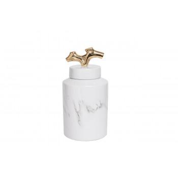Керамическая ваза c крышкой бело-серая 15*30см 55RD3226M
