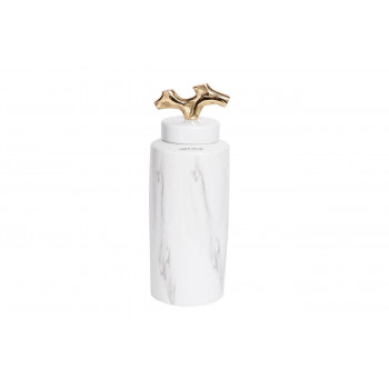 Керамическая ваза c крышкой бело-серая 14*36см 55RD3226L