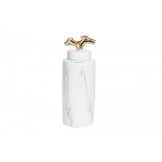 Керамическая ваза c крышкой бело-серая 14*36см 55RD3226L в интернет-магазине ROSESTAR фото