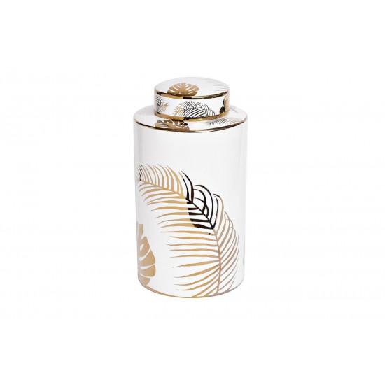 Керамическая ваза с крышкой белая принт Листья 16*30см 55RD3154L в интернет-магазине ROSESTAR фото