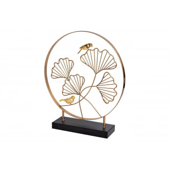 Декор Листья с 2 золотыми птичками 40*46см 55RD3153