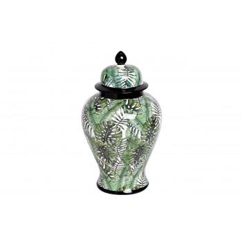 Керамическая ваза с крышкой бело-зелёная принт Листья 20*33см 55RD3112S