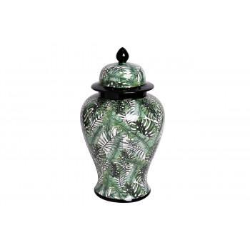 Керамическая ваза с крышкой бело-зелёная принт Листья 22*40см 55RD3112L