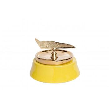 Керамическая ваза с крышкой желтая с декором 21*16см 55RD2920S