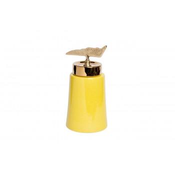 Керамическая ваза с крышкой желтая с декором 16*31см 55RD2920L