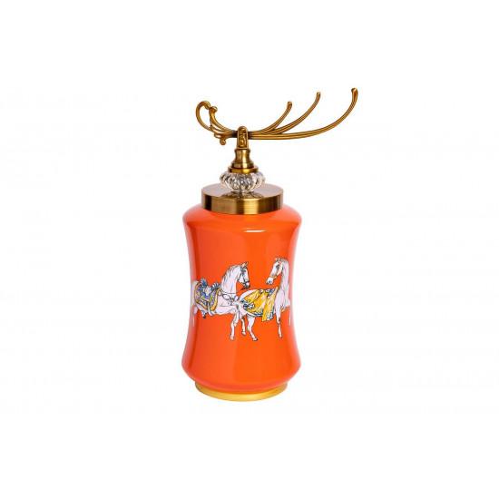 Керамическая ваза с крышкой оранжевая принт Лошади 15*42см 55RD2823S в интернет-магазине ROSESTAR фото
