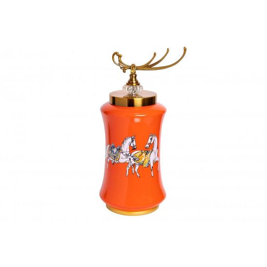 Керамическая ваза с крышкой оранжевая принт Лошади 21*48см 55RD2823L  в интернет-магазине ROSESTAR фото