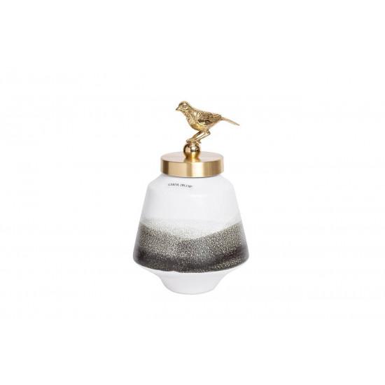 Керамическая ваза с крышкой бело-серая с птичкой 16*28см 55RD2876S в интернет-магазине ROSESTAR фото
