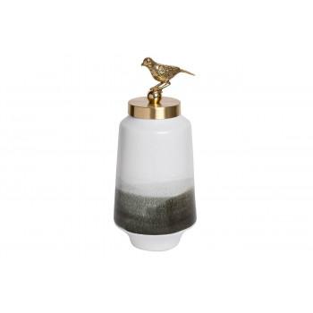 Керамическая ваза с крышкой бело-серая с птичкой 14*35см 55RD2876M