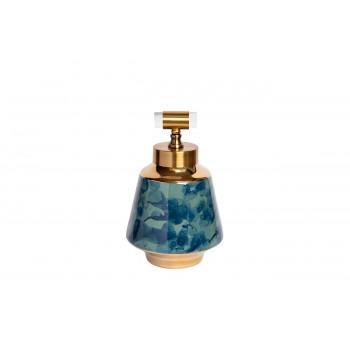 Керамическая ваза с крышкой сине-бирюзовая с золотом 19*30см 55RD3121M