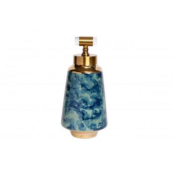 Керамическая ваза с крышкой сине-бирюзовая с золотом 18*39см 55RD3121L