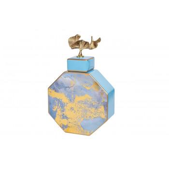 Керамическая ваза с крышкой голубая с золотом 55RD3570S