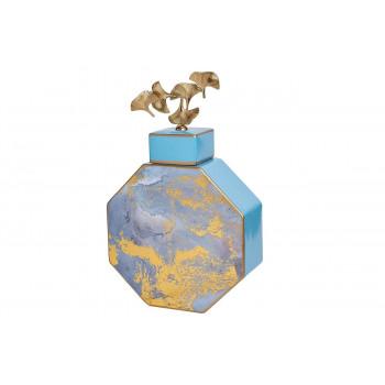 Керамическая ваза с крышкой голубая с золотом 25*10*41см 55RD3570L