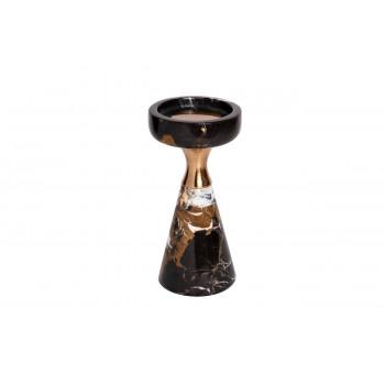 Мраморный подсвечник черно-коричневый 9*19см 55RZ3451S
