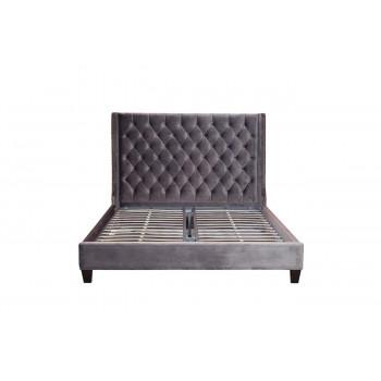 Двуспальная серая кровать с высоким изголовьем 221*198*151см DY-1250/2