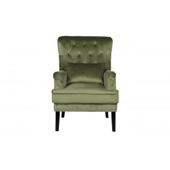 Велюровое кресло с подушкой на деревянных ножках светло-зеленое 77*92*105см 24YJ-7004-040