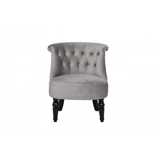 Низкое кресло на деревянных ножках велюр серый 46*61*70см 24YJ-8044B-057 в интернет-магазине ROSESTAR фото