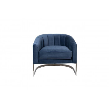 Велюровое кресло на металлическом каркасе тёмно-синее 77*70*71см ZW-777 BLU SS