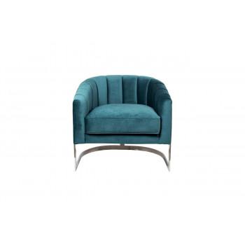 Велюровое кресло на металлическом каркасе сине-зеленое 77*70*71см ZW-777 GRN SS
