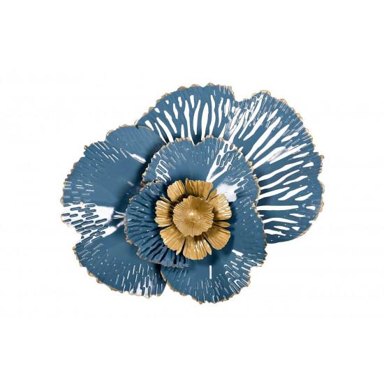 Настенный декор Цветок золотисто-голубой 38,1*50,8*8,3 37SM-0844 в интернет-магазине ROSESTAR фото