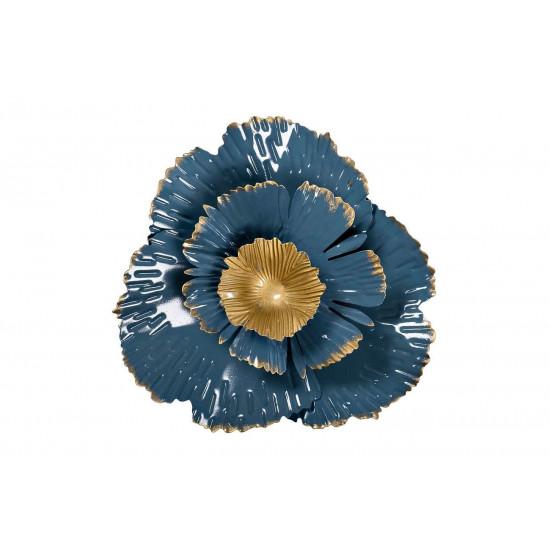 Настенный декор Цветок золотисто-голубой 23,5*23,5*6,4 37SM-0848  в интернет-магазине ROSESTAR фото
