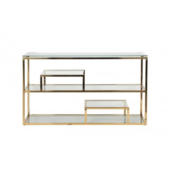Консоль из нержавеющей стали и прозрачного стекла/золото 140*38*79см GY-CST8005GOLD в интернет-магазине ROSESTAR фото