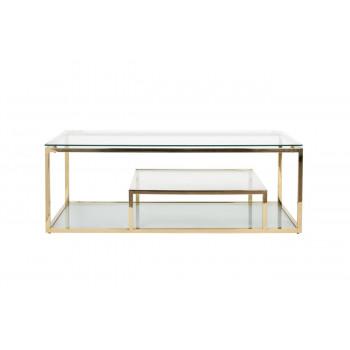 Золотой журнальный столик для гостиной с прозрачным стеклом на металлическом каркасе 130*60*45см GY-CT8005GOLD