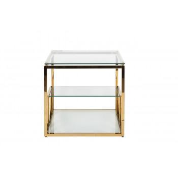 Золотой журнальный столик со стеклянной столешницей на металлическом каркасе 60*60*55см GY-ET8005GOLD