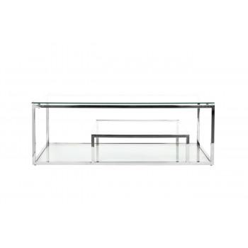 Металлический журнальный столик для гостиной со стеклянной столешницей 130*60*45см GY-CT8005