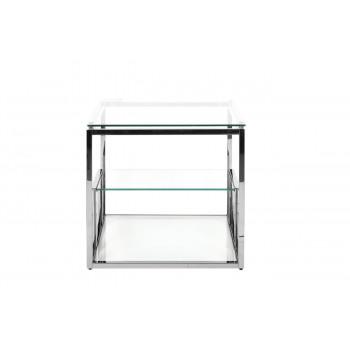 Металлический журнальный столик со стеклянной столешницей 60*60*55см GY-ET8005