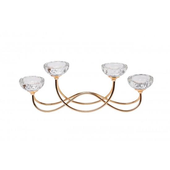 Подсвечник  на 4 свечи металлический 45*9*15см цвет золото 2KG195102CG в интернет-магазине ROSESTAR фото