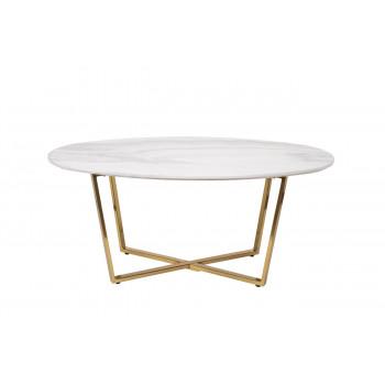 Овальный журнальный столик со столешницей из искусственного мрамора на металлических ножках 120*65*41см 30B-855-1