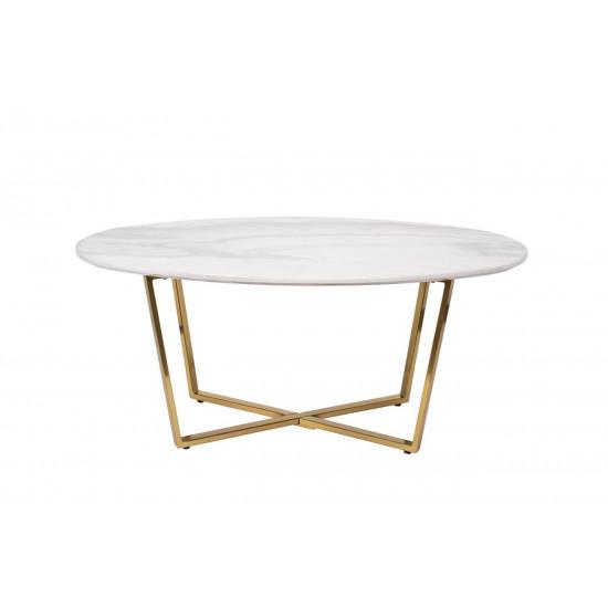 Овальный журнальный столик со столешницей из искусственного мрамора на металлических ножках 120*65*41см 30B-855-1 в интернет-магазине ROSESTAR фото
